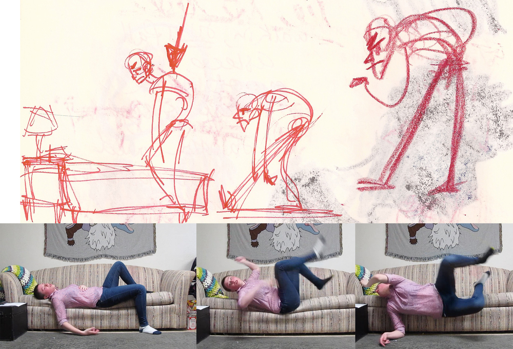 Here is an example of reference footage and gestures I used to create the finished product.