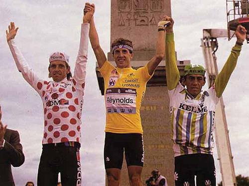 1988 Touer podium: Pedro Delgado, Stephen Rooks, Fabio Parra.