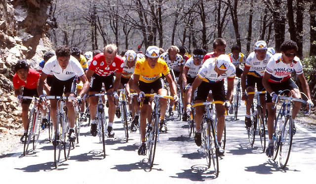 "L to R: Vicente Belda (in red), Perico Delgado, Raymond Dietzen, Lucho Herrera (wearing leader's jersey), Laurent Fignon, ""El Polaco"" Bohórquez, Oscar Vargas."