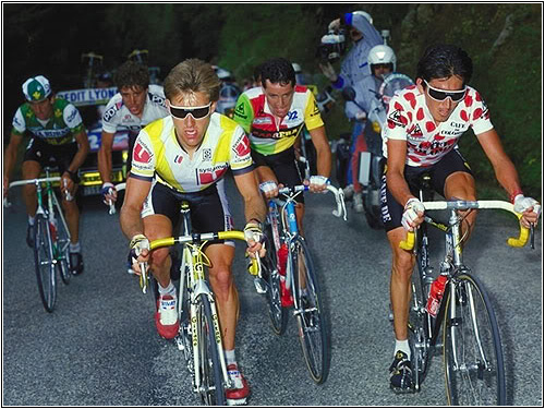 Stage 19 to Villard De Lans. L to R: Marino Lejarreta (Caja Rural), Pedro Delgado (PDM), Mottet (Système U), Roche (combination jersey), and Herrera (KoM jersey). Image lifted of  Cyclismas.com