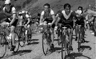 1984 climb to Alpe D'Huez. L to R: Phil Anderson, Peter Winnen, Bernard Hinault, Rafael Acevedo, Luis Herrera (hidden).
