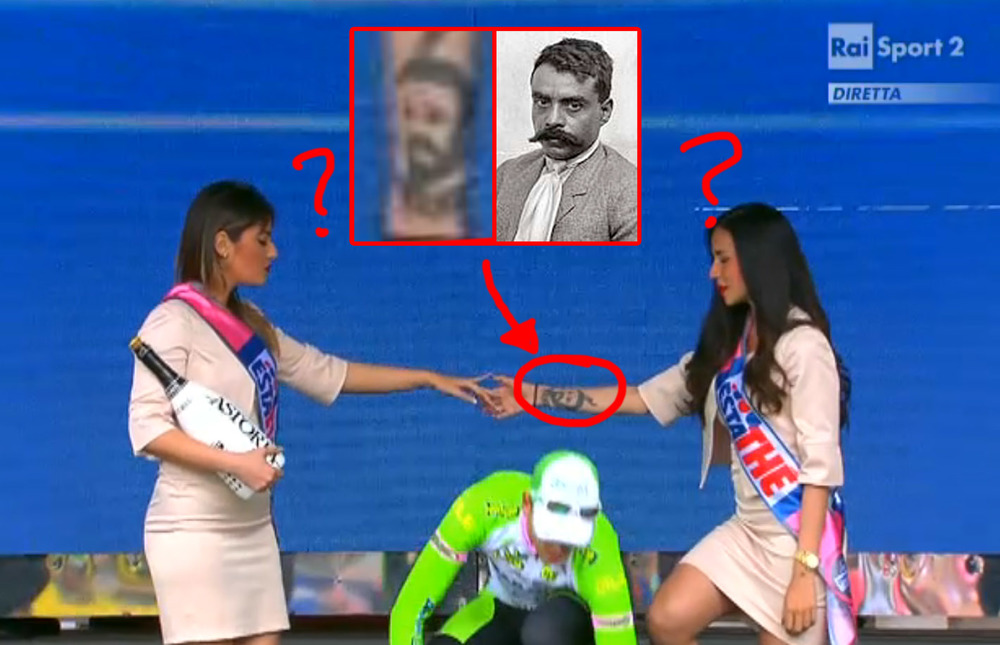 I noticed that none of the podium girls had an odd tattoo on her right wrist, but was never able to get a good look at it until a few days ago. At first I thought it was a portrait of Joseph Stalin, but now I'm pretty sure Its Emiliano Zapata.