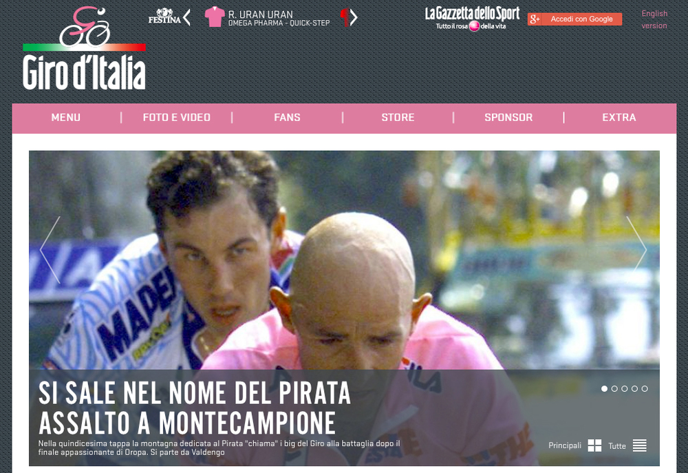 """Speaking of Il Pirata, RCS do not hide their love for him. Haters will hate, but the Giro remains on Pantani's side. """"He never tested positive for anything,"""" they say. Screw that, I don't give a shit if he ever did, I just think the dude was awesome!"""