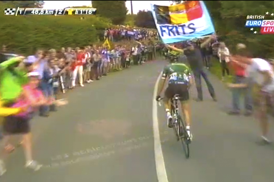 """I thinked Tom Boonen is maybe driving here? No? Ok, we still say FRITS!"""