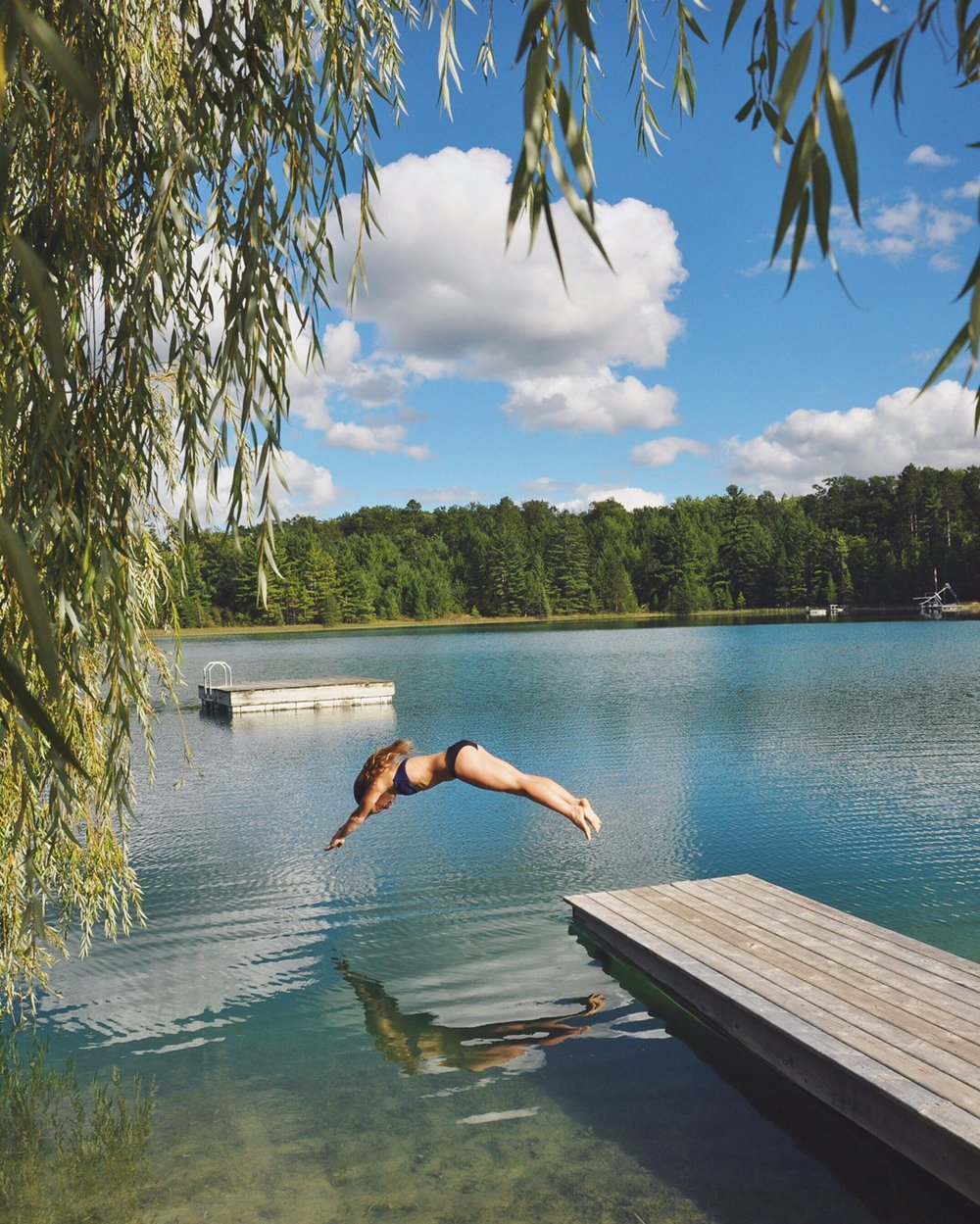 summer, michigan, diving, swimming, dock,