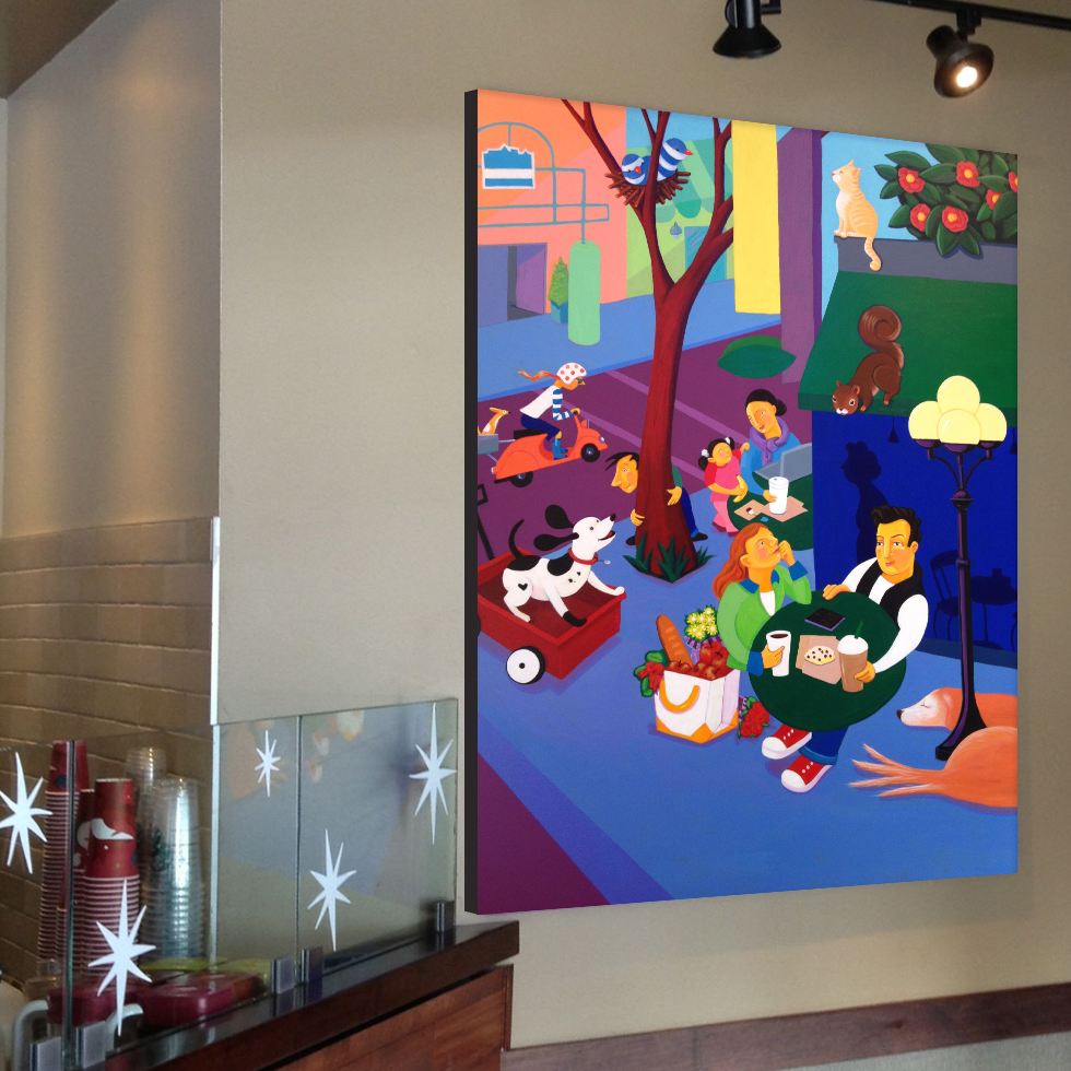 A Day in the Neighborhood - After a store remodel in 2012, the original 9'x7' painting no longer fit. I was very happy though that Starbucks contacted me to paint another piece which would fit in the new space, so the new piece is 7'x5'. Bonus good news, the original painting was moved up to San Francisco to hang in the corporate office lobby.