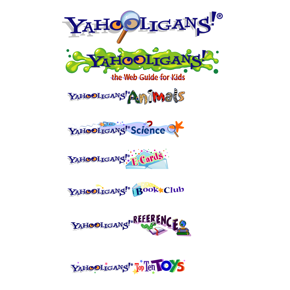 One of the first projects I worked on at Yahoo! was creating the illustrated headers for each Yahoo! Kids page, so much fun!