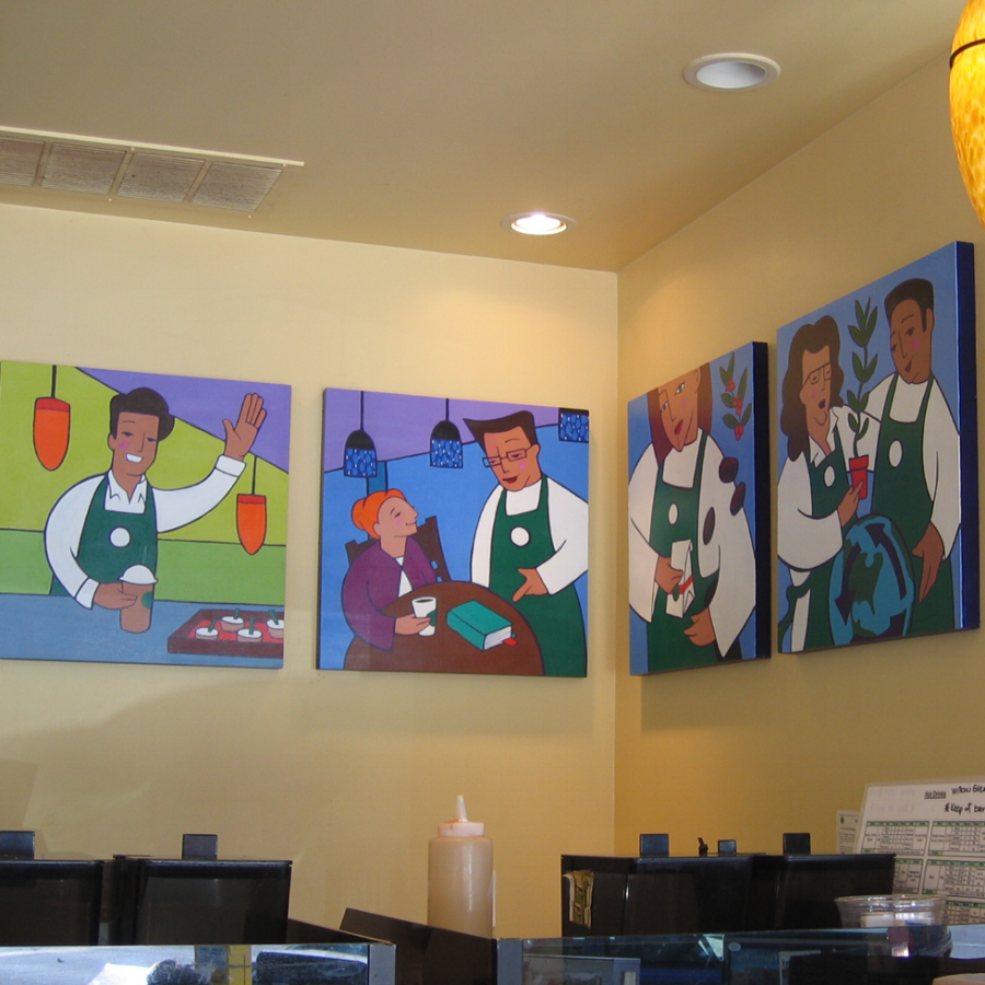 Employees - Starbucks later commissioned 4 little paintings to illustrate their employee mission statement.Each piece is 2'x2' on canvas.