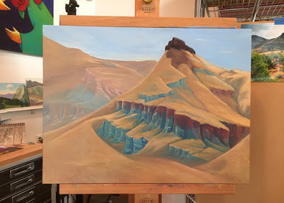 sheep rock, wip. oil on wood panel
