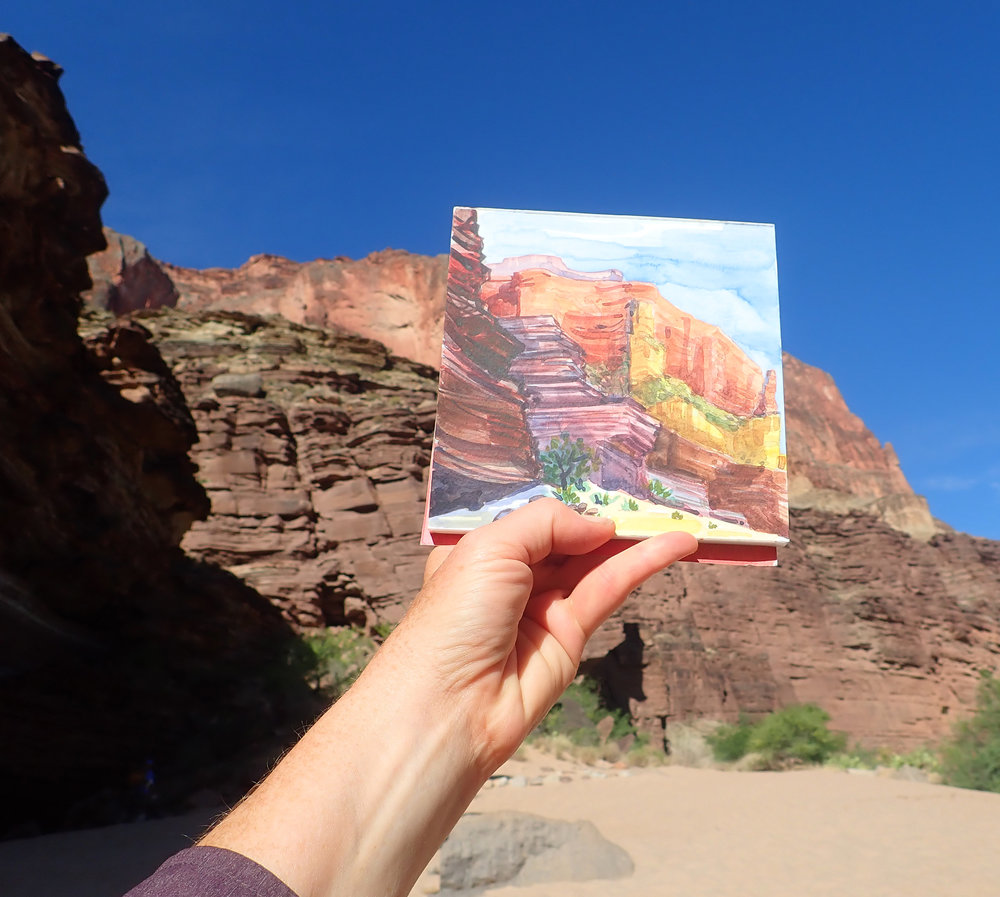6x6 Watercolor of the cliffs at Panchos Kitchen Camp, mile 137
