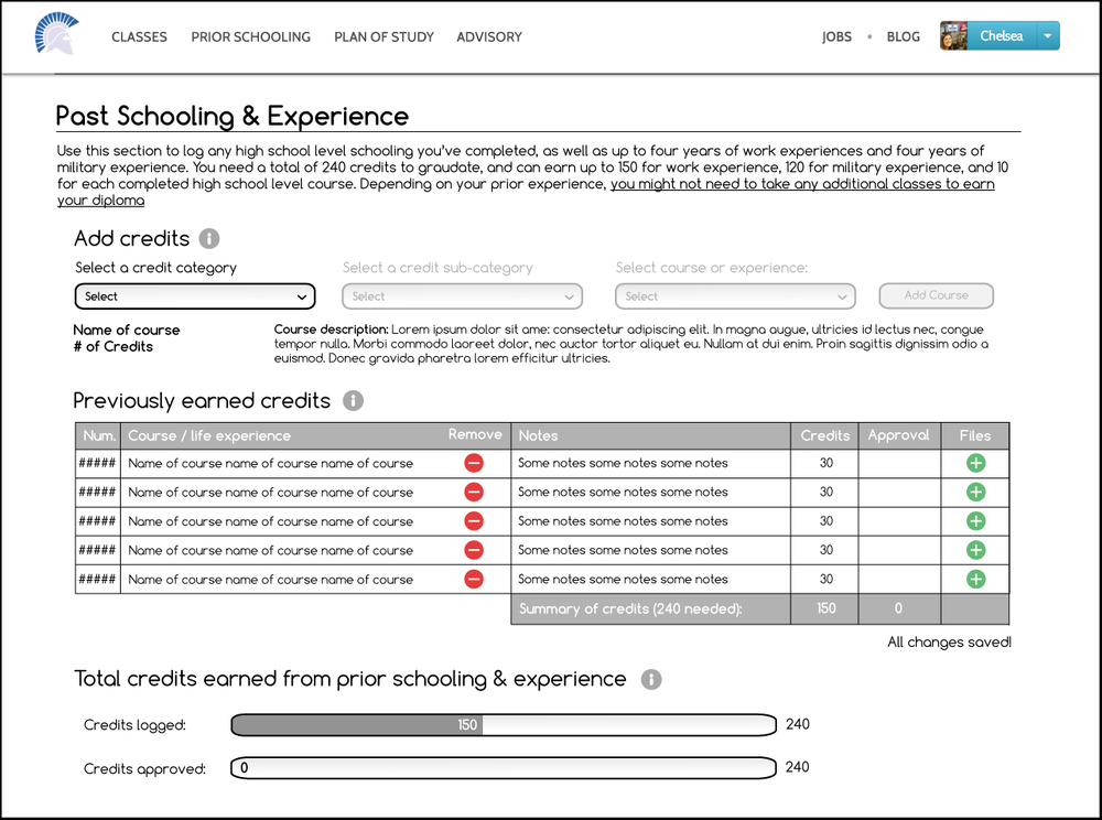 "Wireframe of the ""Past Schooling and Experience"" page, where users are guided to upload any past experience or education they have, for which they can earn credit."