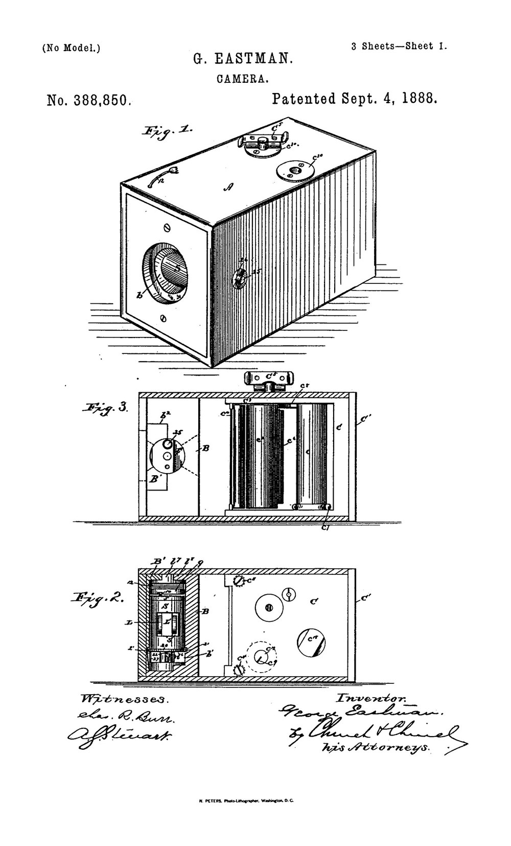 The first (?) George Eastman box camera patent
