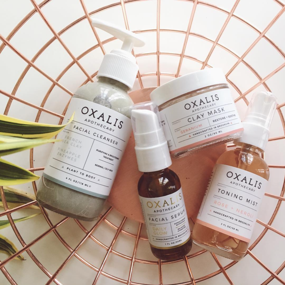 toning mist, facial serum, facial cleanser and clay mask by oxalis apothecary