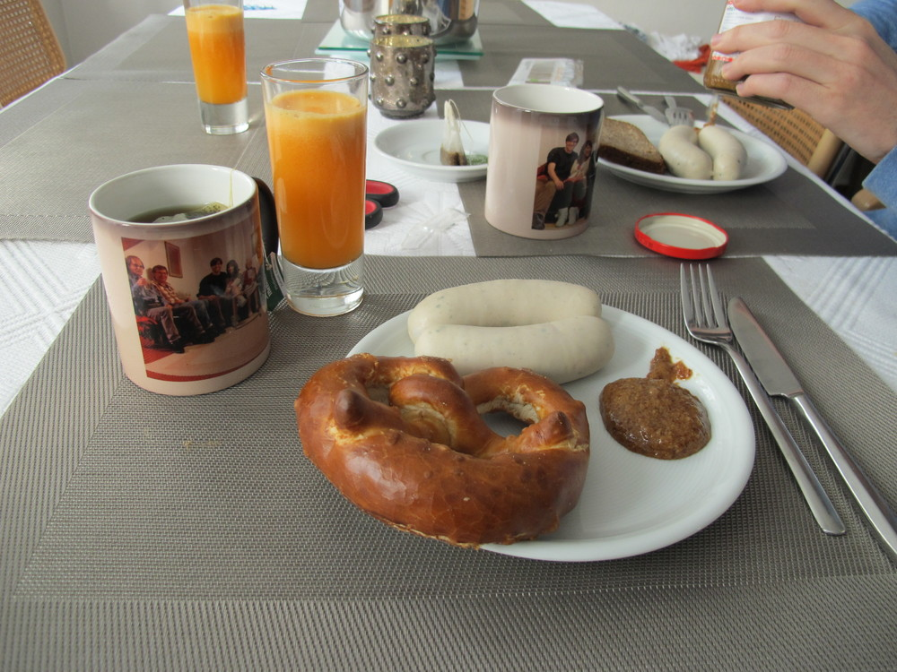 Mandatory white sausage with pretzel breakfast (beer's missing)
