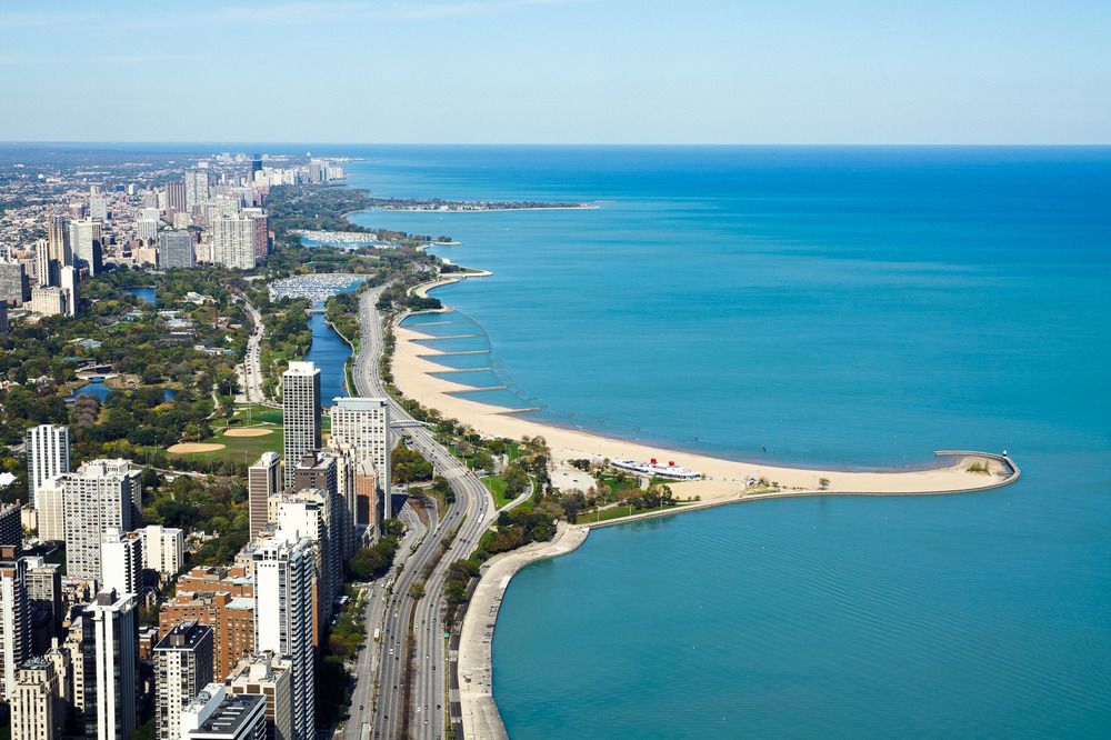 Image Title:  N. Lake Shore Drive - Aerial   Mat Sizes:  8x10, 11x14, 16x20   Float Mount Sizes:  12x18, 16x24, 20x30, 24x36, 28x42, 32x48, 36x54, 40x60
