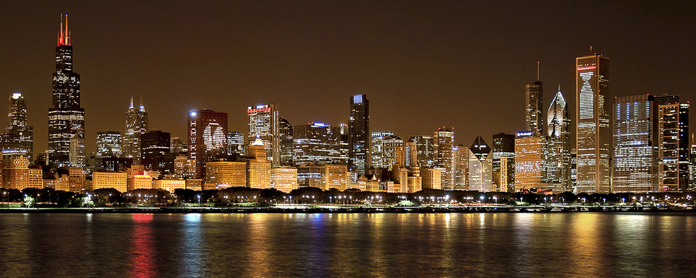 Image Title:  Chicago Skyline - Blackhawks   Mat Sizes:  12x20  Float Mount Sizes:  07x18, 10x24, 12x30, 15x36, 17x42, 19x48, 22x54, 25x60