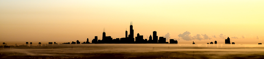 Image Title:  Chicago Skyline - SW Silhouette Aerial   Mat Sizes: 7 x20  Float Mount Sizes:  04x18, 05x24, 07x30, 08x36, 09x42, 11x48, 12x54, 14x60