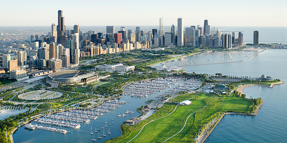 Image Title:  Chicago Lakefront - Aerial   Mat Sizes:  12x20 (as displayed) or 08x10, 11x14, 16x20 (full frame)   Float Mount Sizes:  09x18, 12x24, 15x30, 18x36, 21x42, 24x48, 26x54, 30x60