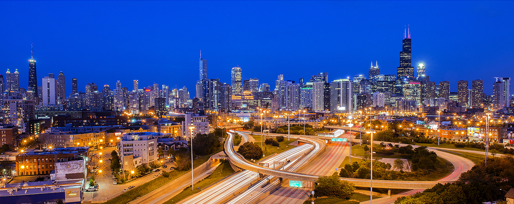 Image Title:  Chicago Skyline - Inbound Kennedy (I94)   Mat Sizes:  12x20  Float Mount Sizes:  07x18, 10x24, 12x30, 15x36, 17x42, 19x48, 22x54, 25x60