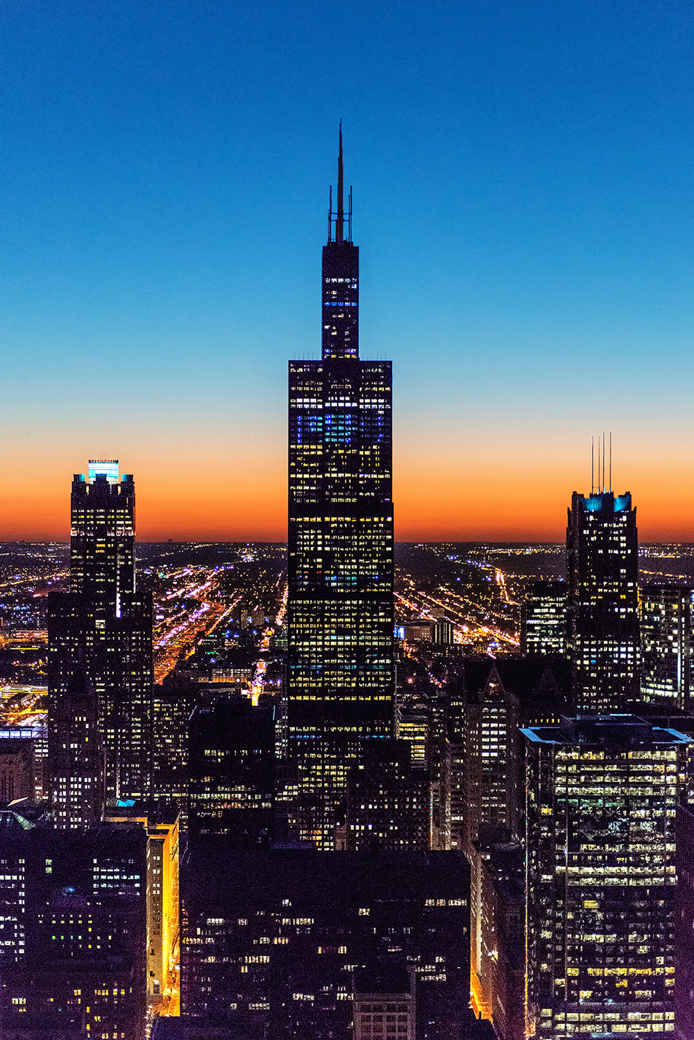 Image Title:  Sears Tower Sunset - Aerial   Mat Sizes:  8x10, 11x14, 16x20   Float Mount Sizes:  12x18, 16x24, 20x30, 24x36, 28x42, 32x48, 36x54, 40x60.