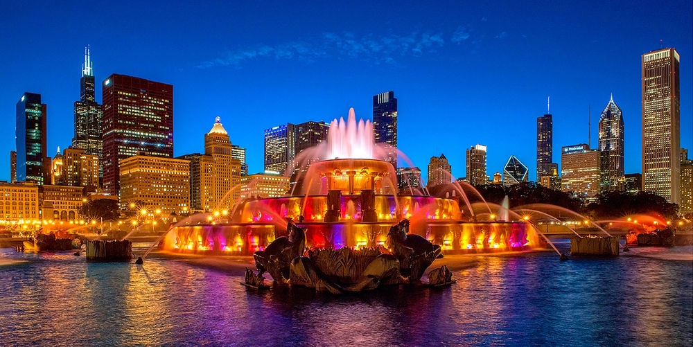 Image Title:  Buckingham Fountain - Twilight   Mat Sizes:  12x20 (as displayed) or 08x10, 11x14, 16x20 (full frame)   Float Mount Sizes:  09x18, 12x24, 15x30, 18x36, 21x42, 24x48, 27x54, 30x60