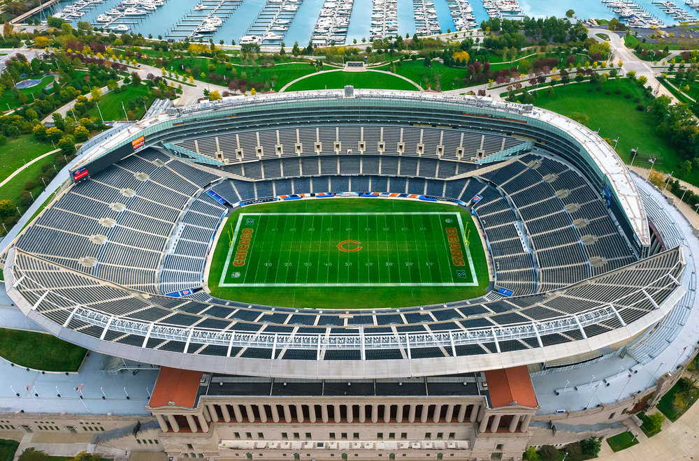 Image Title:  Soldier Field - Aerial   Mat Sizes:  8x10, 11x14, 16x20   Float Mount Sizes:  12x18, 16x24, 20x30, 24x36, 28x42, 32x48, 36x54, 40x60.