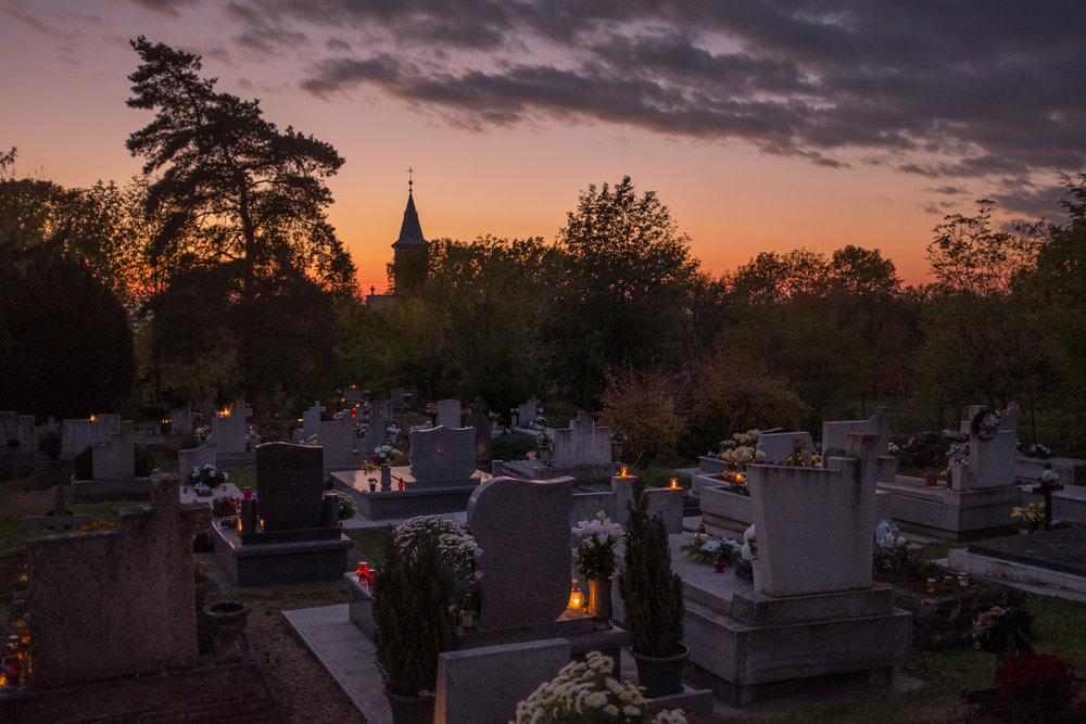 The Hejce cemetery on Halloween.