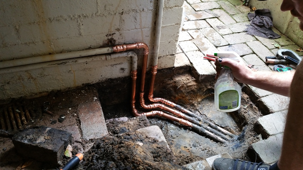 Gas piping exposed