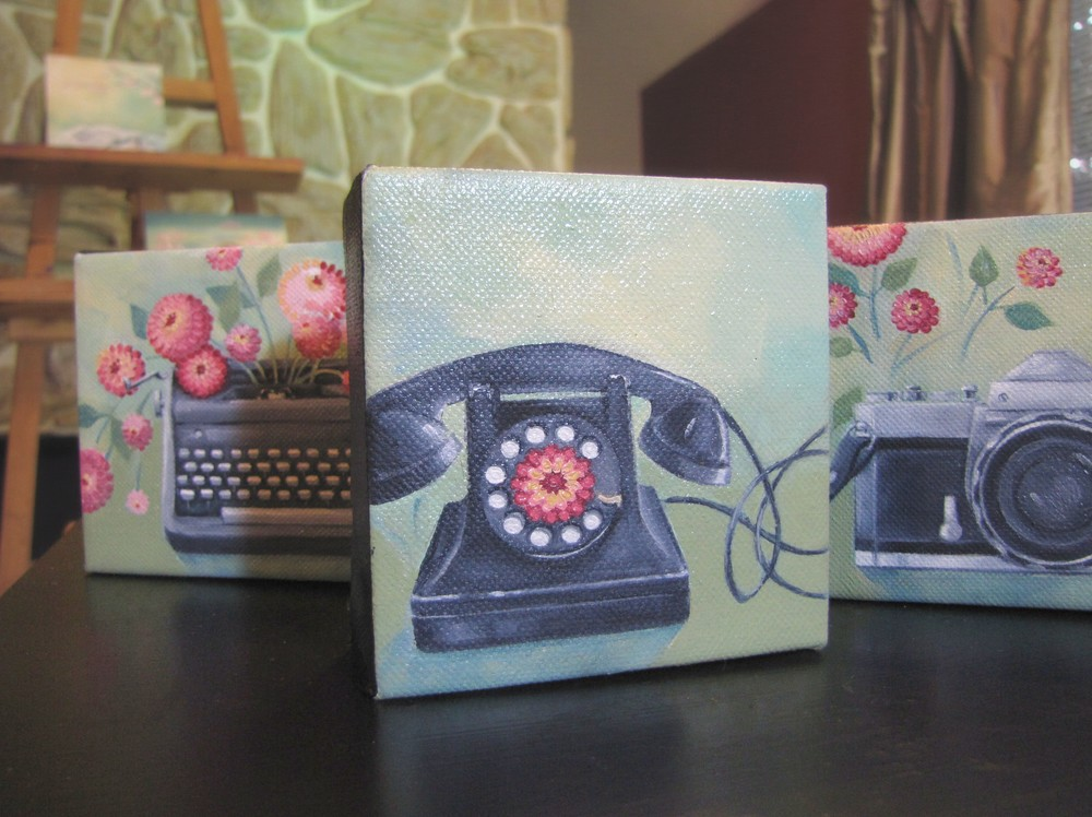 Gigi Reinette - tiny paintings - flowers - vintage phone - vintage camera - typewriter