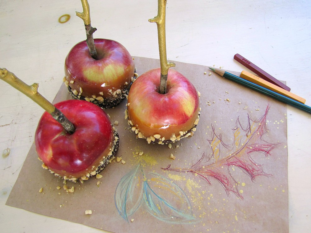 gigi reinette - caramel apples colored pencil drawing fall leaves