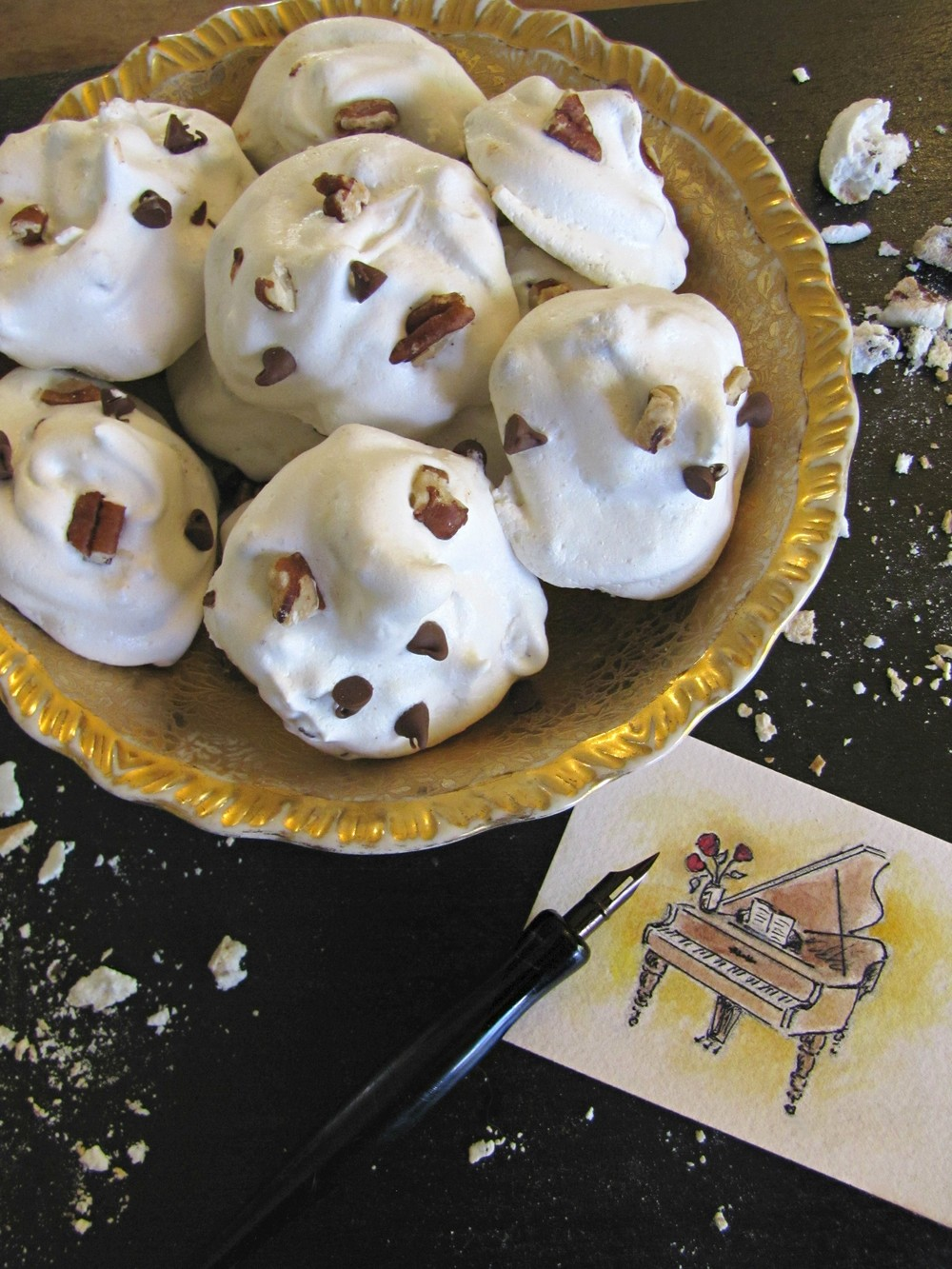 meringue chocolate chip cookies and piano drawing