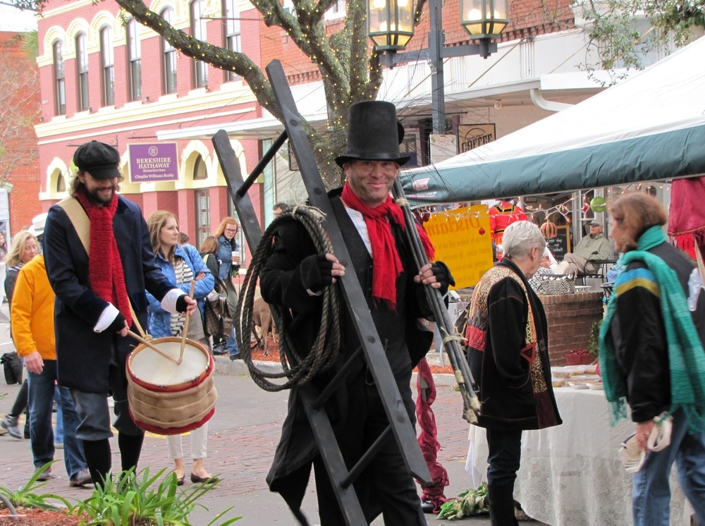 man in chimney sweep costume at charles dickens festival