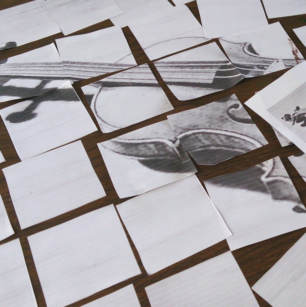violin drawing in square pieces