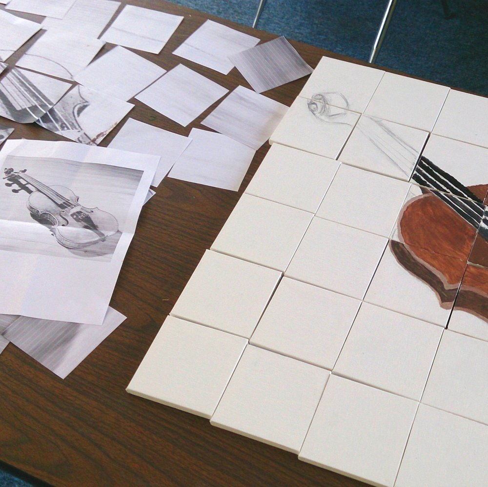 kids violin mosaic project