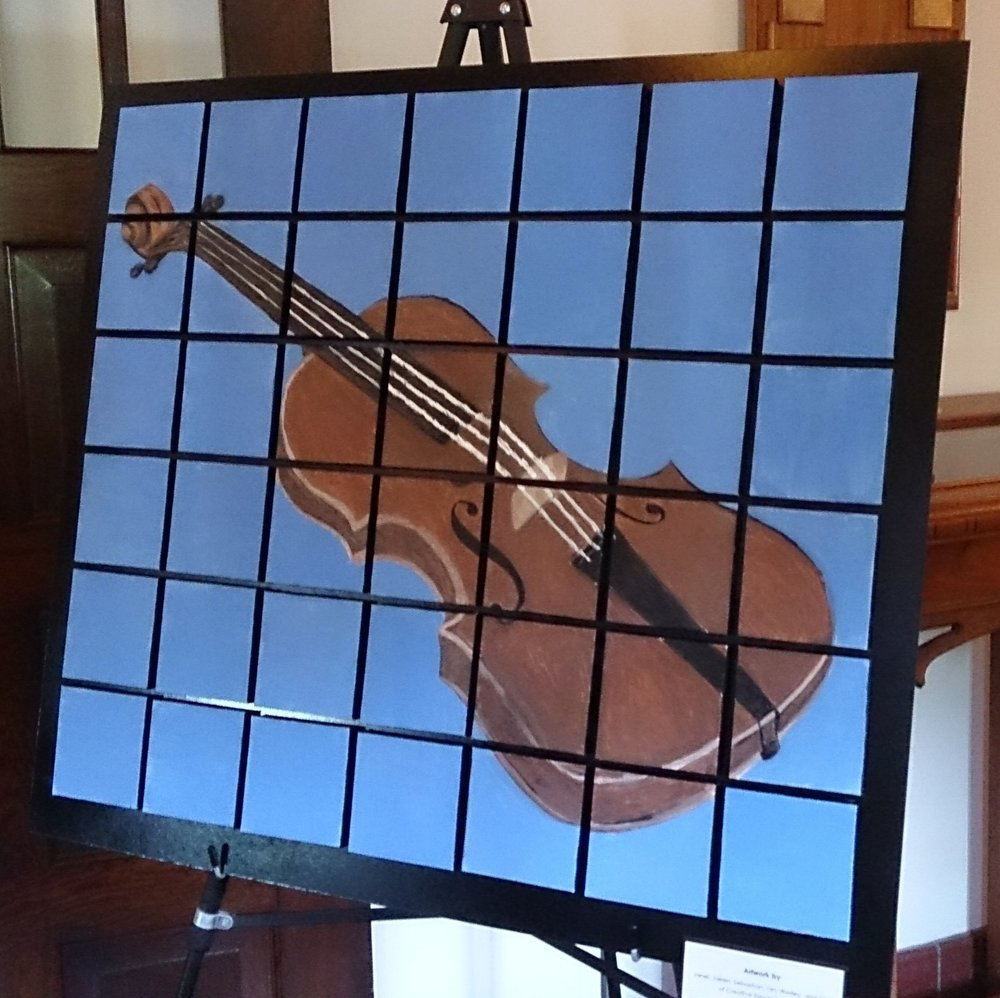 kids violin mosaic painting