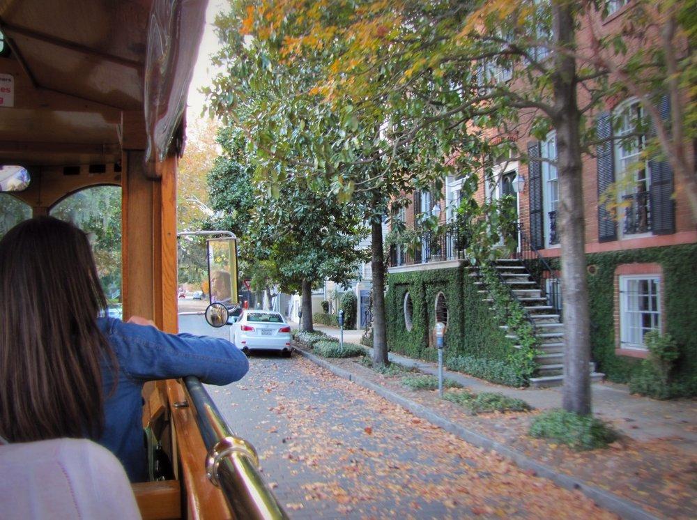 riding a trolley in Savannah Georgia