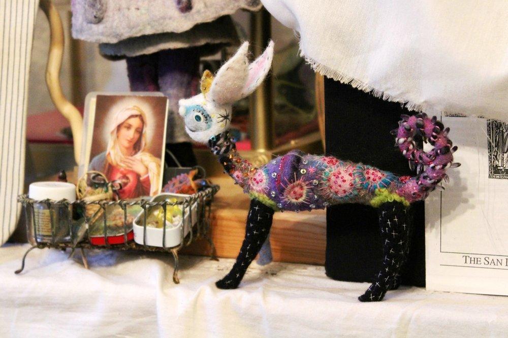 felted sculpture fantasy animal by Caroline Daley
