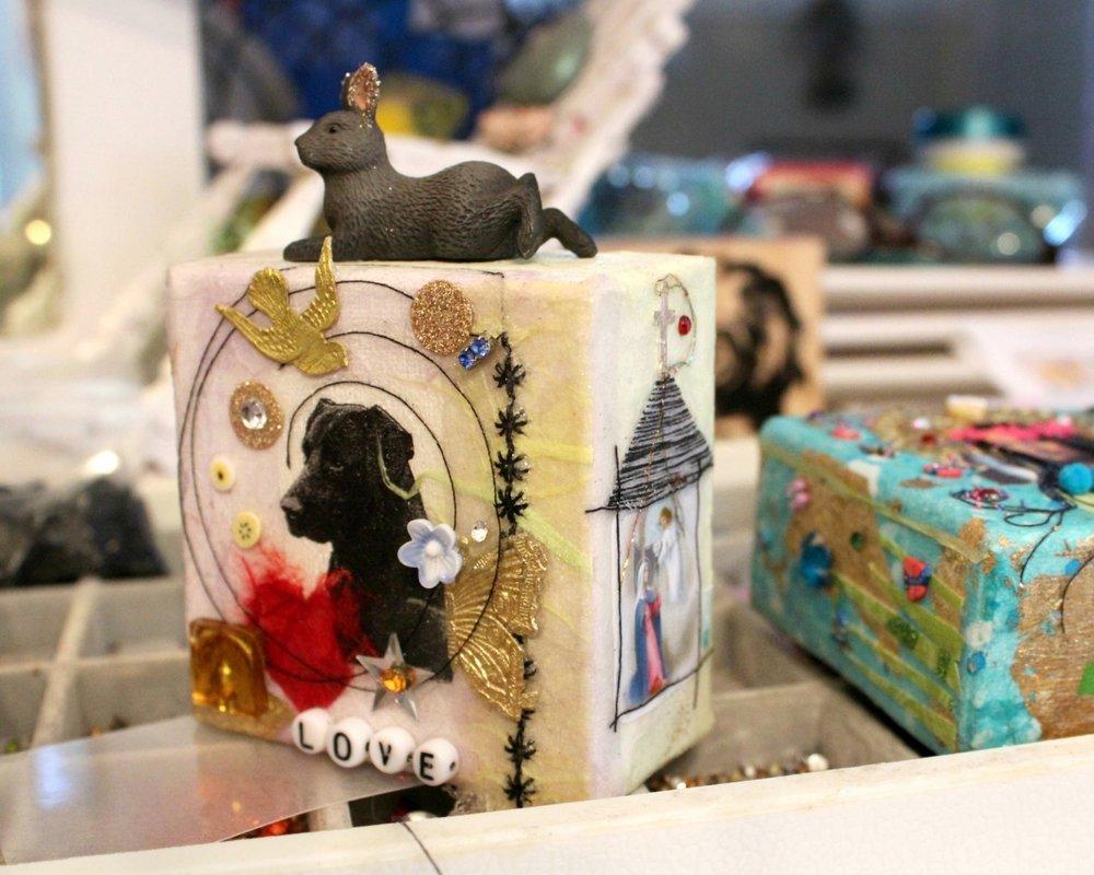embellished mixed media dog art by Caroline Daley