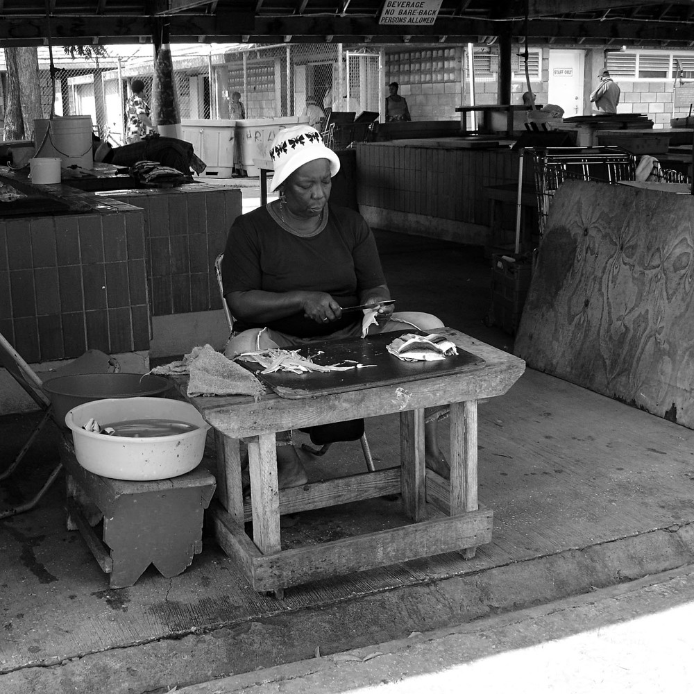 Women Preparing Fish - Barbados, Caribbean