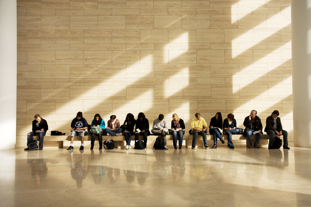 Students sketching in Ara Pacis - Rome, Italy