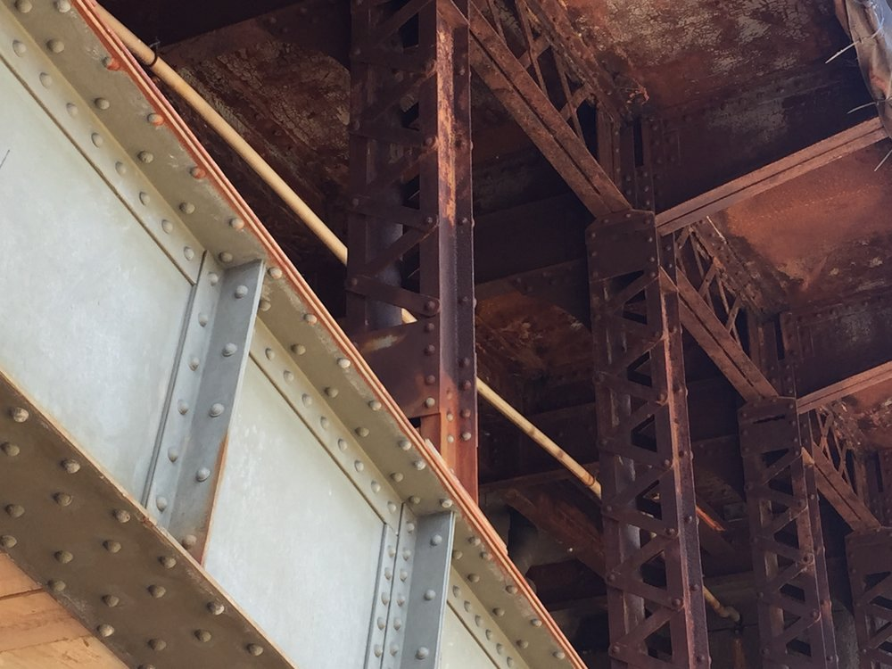 Rusty spandrel columns on the downstream (still-under-renovation) side of Boston's Longfellow Bridge.