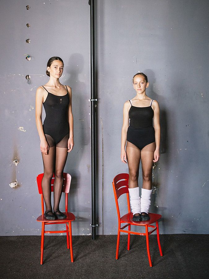 Mergime Morina (left) and Etrita Abdullahu (right), two young student at the Kosovo Ballet school.