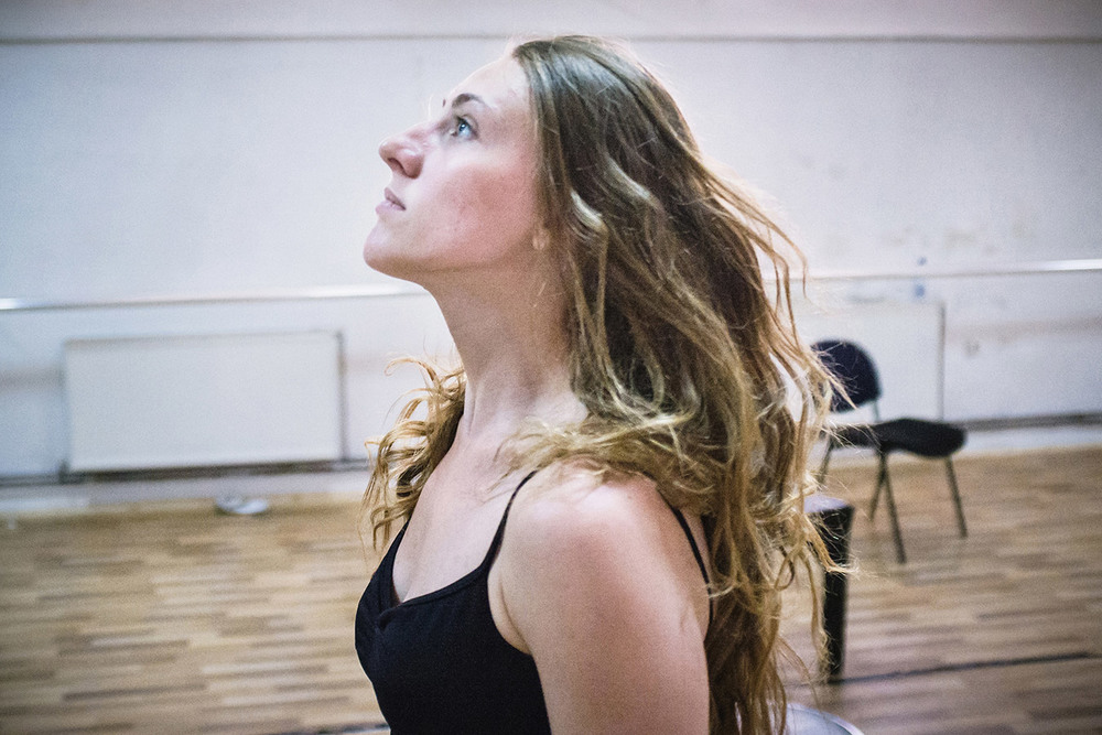 Vlora Prizreni, a member of the new generation of The Kosovo Ballet, during a daily rehearsal in the training room at the basement of Kosovo National Theater, Pristina.