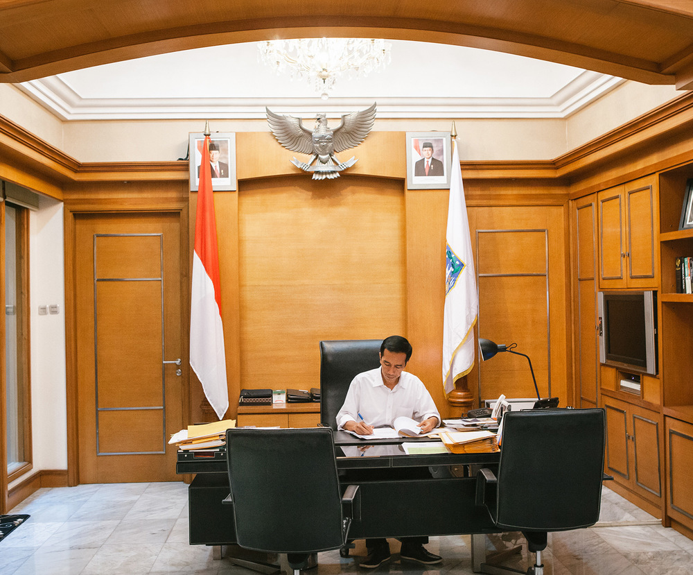 Joko Widodo in his office at the Jakarta's City Hall. Now, he is the current President of Indonesia.