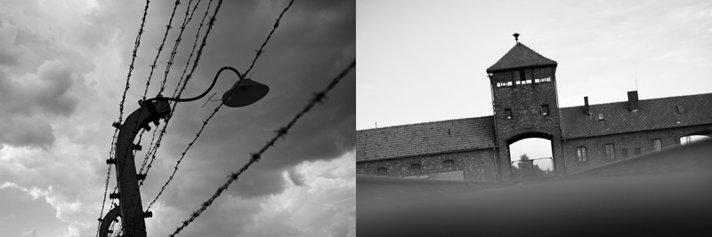 Electric barbed wire installed to avoid any escape attempt in the camp (left), The railway gate at Auschwitz II Birkenau is one of the most iconic building of the Nazi Germany Concentration Camps (Right)