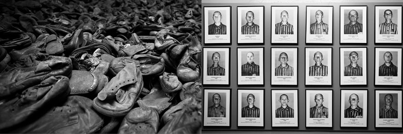 Shoes of the prisoners were collected and stacked into an unbelievably massive amount (left) Identification photographs of men prisoners (right)