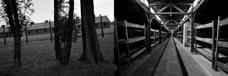 The camps at Auschwitz II, these functioned as women quarter (left). The men's camp interior (right)