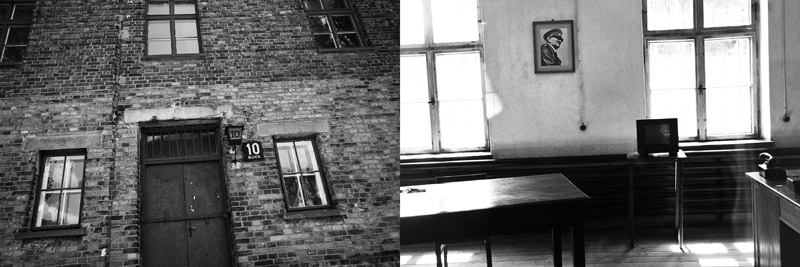 The infamous Block 10, the place where Nazi Germany doctor did human experimentation, one of the most famous are dr. Josef Mengele (left), An old photograph of Hitler still hanging inside a room of the building block of Auschwitz I (right)