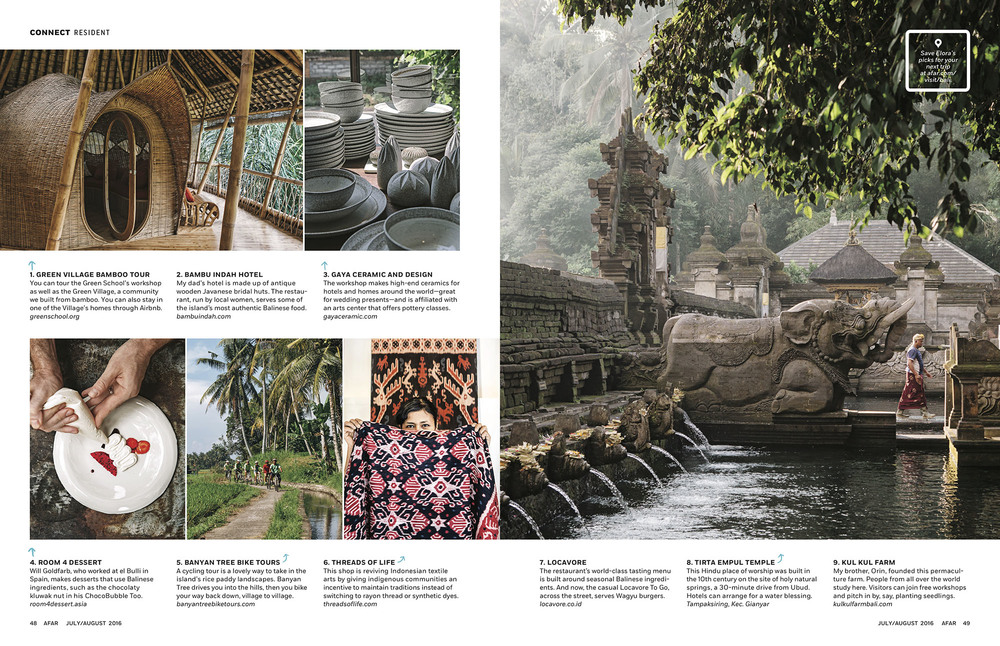 Elora Hardy's Ubud in  AFAR  July/August 2016