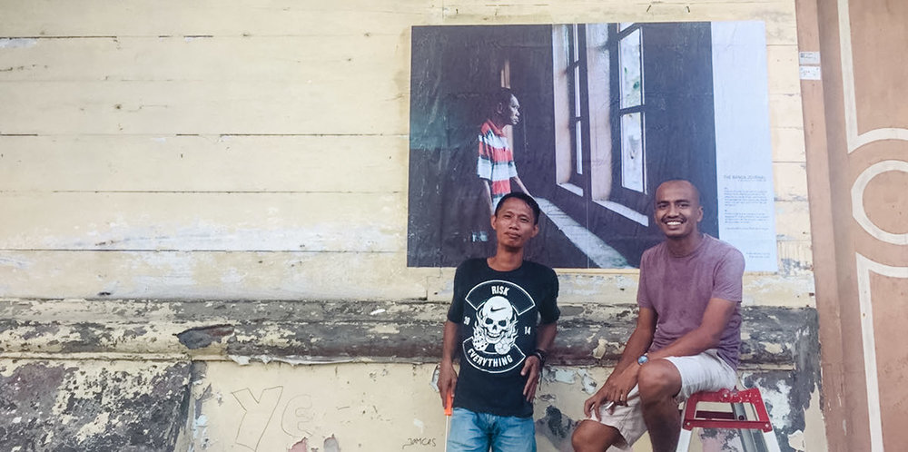 Me and Lukman pose for photo after pasting an image in PT. Pala Banda.